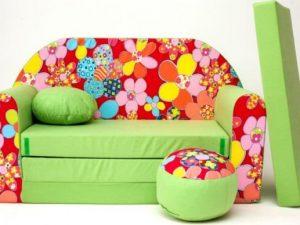 Dětská pohovka Květiny - zelená
