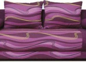 Pohovka Futon - fialová vlnky