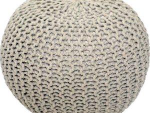 Tempo Kondela Pletený taburet GOBI TYP 2 - krémová bavlna + kupón KONDELA10 na okamžitou slevu 3% (kupón uplatníte v košíku)  - Lavice na SEDI.cz