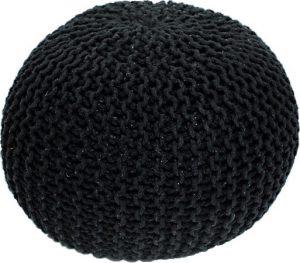 Tempo Kondela Pletený taburet GOBI TYP 2 - černá bavlna + kupón KONDELA10 na okamžitou slevu 3% (kupón uplatníte v košíku) - Lavice na SEDI.cz