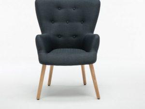 Designové křeslo BRANDO - šedá / dřevo
