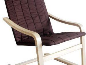 Relaxační křeslo TORSTEN - březové dřevo / hnědá látka