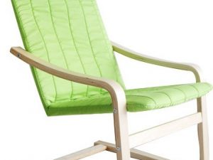 Relaxační křeslo TORSTEN - březové dřevo / zelená látka