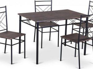 Jídelní set RAMET 1 + 4 - dřevo / černá