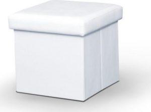 Tempo Kondela Taburet TELA NEW - bílá ekokůže + kupón KONDELA10 na okamžitou slevu 3% (kupón uplatníte v košíku) s úložným prostorem - Lavice na SEDI.cz