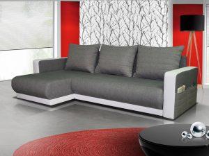 Rozkládací rohová sedačka FINEZJA - šedá látka / bílá ekokůže