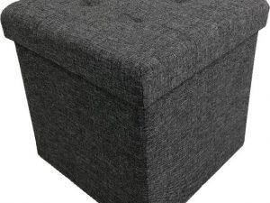 Tempo Kondela Taburet FALON - tmavě šedý + kupón KONDELA10 na okamžitou slevu 3% (kupón uplatníte v košíku)  s úložným prostorem  - Lavice na SEDI.cz