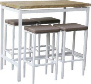Barový jídelní set LUCERO (1 stůl + 4 židle) - bílá / dub sonoma / hnědá