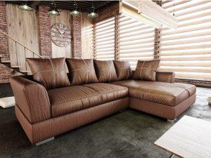 Luxusní sedací souprava ANONA ROH - hnědá látka s efektem broušené kůže