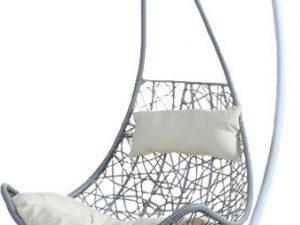 Závěsné křeslo KALEA - bílá/šedá/krémová