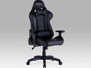Kancelářská židle KA-F03 BLUE - modrá/ koženka