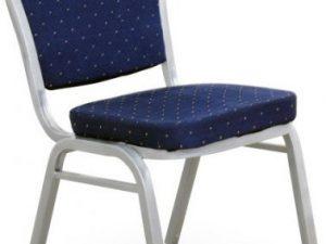 Židle JEFF - látka tmavě modrá/šedý rám