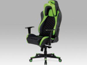 Kancelářská židle KA-F04 GRN - černá látka MESH / zelená + černá koženka