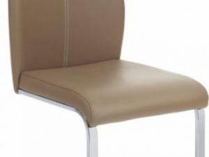Židle NESTA - béžová ekokůže / bílé prošití