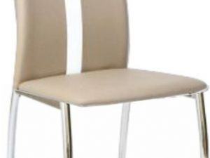 Židle SIGNA - béžová / bílá ekokůže