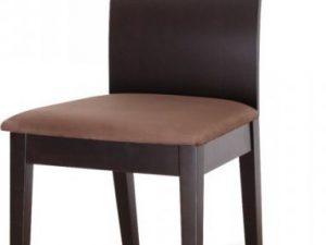 Dřevéná židle ABRIL - wenge/látka tmavě hnědá