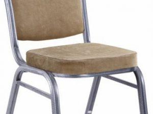Židle JEFF 2 NEW - béžová látka / šedý rám