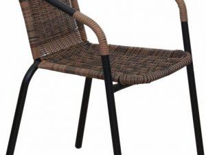 Židle DOREN - hnědý ratan / černé nohy