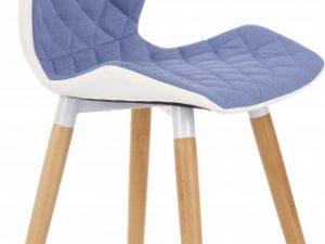 Jídelní židle K277 modrá látka /bílá koženka