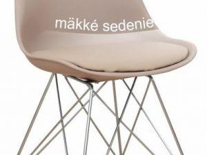 Židle METAL NEW - teplá šedá / chrom