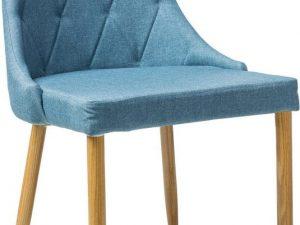 Jídelní čalouněná židle TRIX II modrá/dub