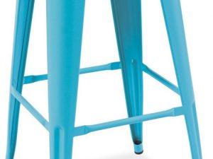 Barová kovová židle LONG modrá