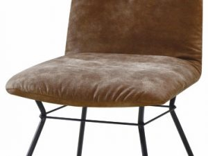 Moderní židle ALMIRA - hnědá látka / černý kov