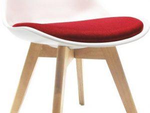 Židle DAMARA - bílá / červená