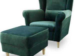Křeslo ušák ASTRO s taburetem - smaragdové