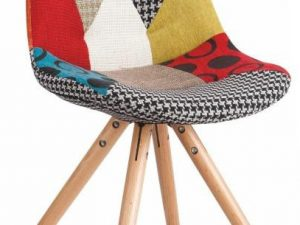 Židle KIMA NEW TYP 1 - látka patchwork / dřevo