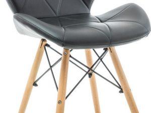 Jídelní židle MATIAS černá ekokůže/buk