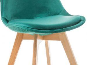 Jídelní čalouněná židle DIOR VELVET zelená/buk