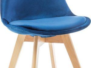 Jídelní čalouněná židle DIOR VELVET granátová/buk