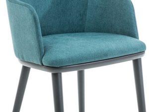 Jídelní čalouněná židle FLIP tyrkys/grafit