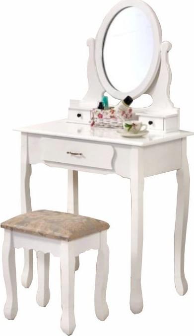 Tempo Kondela Toaletní stolek s taburetem LINET New - bílá / stříbrná + kupón KONDELA10 na okamžitou slevu 3% (kupón uplatníte v košíku) - Lavice na SEDI.cz