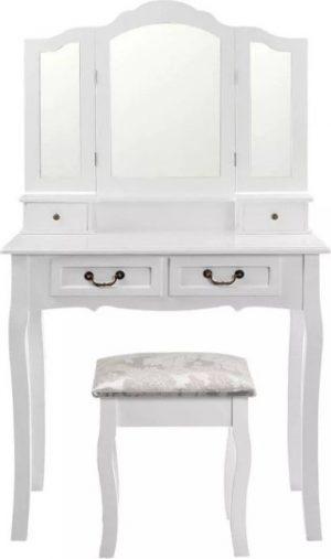 Tempo Kondela Toaletní stolek s taburetem REGINA NEW - bílá/stříbrná + kupón KONDELA10 na okamžitou slevu 3% (kupón uplatníte v košíku) - Lavice na SEDI.cz