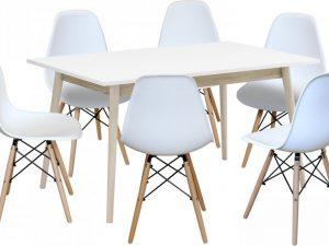 Jídelní stůl NATURE + 6 židlí UNO bílé