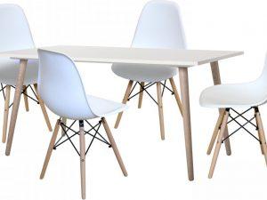 Jídelní stůl GÖTEBORG 50 + 4 židle UNO bílé
