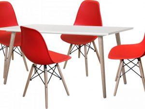 Jídelní stůl GÖTEBORG 50 + 4 židle UNO červené
