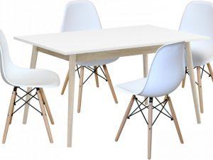 Jídelní stůl NATURE + 4 židle UNO bílé
