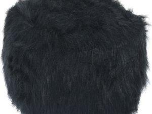 Tempo Kondela Taburet AZENE - umělá kožešina černá + kupón KONDELA10 na okamžitou slevu 3% (kupón uplatníte v košíku)  - Lavice na SEDI.cz