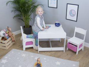 Ourbaby dětský stůl s židlemi s růžovými boxy
