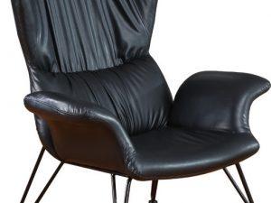 Designové křeslo-ušák DEMAS černá ekokůže