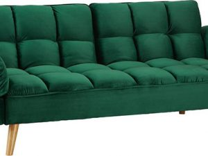 Rozkládací pohovka KAPRERA - smaragdový samet / buk