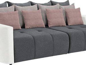 Prostorná pohovka PORTO BIG SOFA - bílá/šedá/světle šedá/pudrově růžová