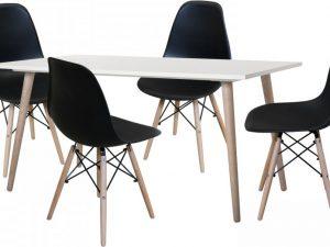 Jídelní stůl GÖTEBORG 50 + 4 židle UNO černé