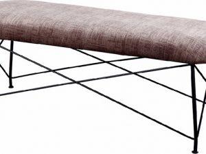 Tempo Kondela Designová lavice RIVOLA - hnědá látka/černý kov + kupón KONDELA10 na okamžitou slevu 3% (kupón uplatníte v košíku)  - Lavice na SEDI.cz
