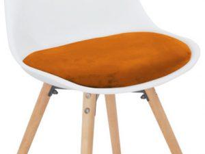 Jídelní židle Semer New - terakotta sametová látka / bílý plast / buk