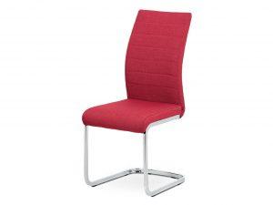 Jídelní židle DCH-455 RED2 - červená látka / kov chrom