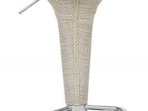 Barová židle Turid - béžový ratan/chrom